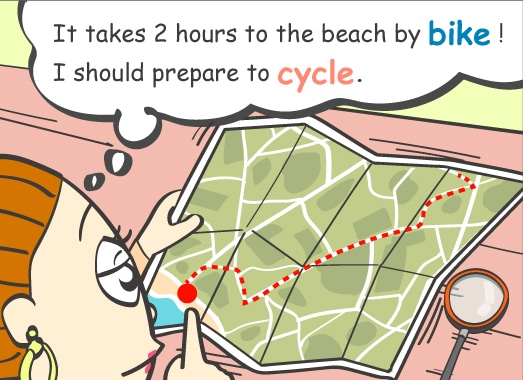 It takes 2 hours to the beach by bike! I should prepare to cycle.