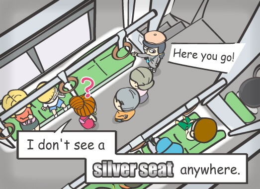 I don't see a silver seat anywhere.