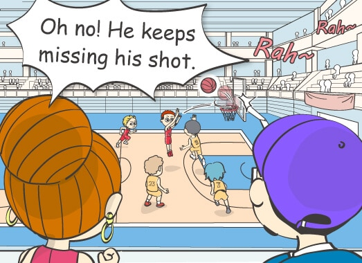 Oh no! He keep missing his shot.